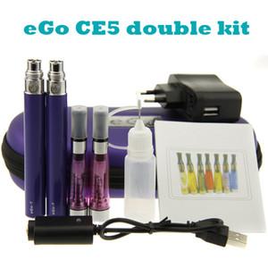 eGo CE5 Starter Kit eGo-T baterry CE5 Zerstäuber Zipper Fall doppelt Kits elektronische Zigaretten 2 CE5 Verdampfer 2 eGo-T Akkus