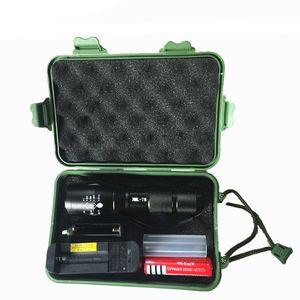 wiederaufladbare T6 L2 LED-Taschenlampe mit Geschenkpaket CREE XM-L L2 Aluminium wasserdichte zoombare Taschenlampe LED-Taschenlampe