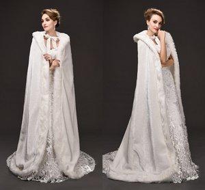 Venta elegante largo de piel sintética de la capa de la boda con aros para el invierno cálido Mujeres capas de ocasiones especiales Chaquetas de la boda 2017 caliente