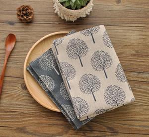 Neue Baumwoll- und Leinenserviette-Teetetuch Kleines Baum-Muster-Doppel-Tischset 40 * 30cm ästhetische Elemente (nur Geschirrtuch)