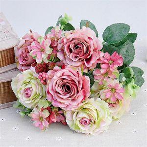 """Falso Europea Rose Bunch (11 tallos / pieza) 38cm / 14.96"""" Longitud artificiales de Rose Cabeza de flor de cerezo con espuma de frutas para la boda Centros de mesa"""