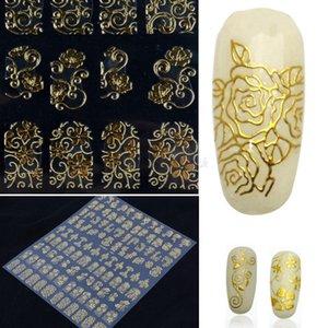 100 hojas de arte pegatinas de uñas al por mayor vendedor caliente de la mujer de 108 unids en una flor de papel 3D Nail Art Stickers calcomanías decoración de manicura