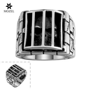 Wholesale MOZEL Jewelry 316L Stainless Steel Skeleton Design Personality Cage Skull Design Retro Stainless Steel Rings Free Shipping