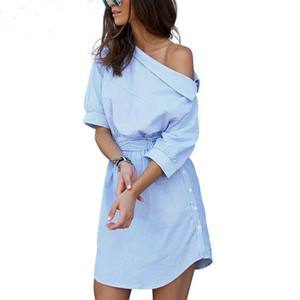 Camisa de rayas de las nuevas mujeres del otoño del resorte Vestido Camisas de hombros inclinadas atractivas de la señora Camisas causales Vestidos de color azul