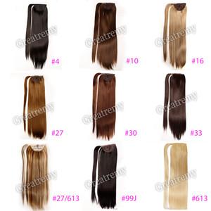 "Greatremy 22 ""largo recto Wrap Around Ponytail extensión sintética Hairpiecs para niñas 10 colores #10 #16 #27 #27/613 #30 #33 #4 #6 #613 #99J"