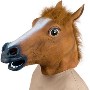 New Horse cabeça máscara traje Dia das Bruxas assustador Fur Mane Latex Máscara Facial Cabeça completamente realista para Mulheres Homens Brown Cor