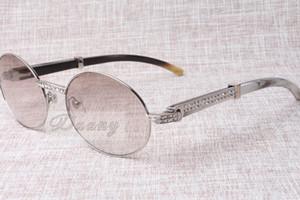 высокого класса круглых алмазов очки 7550178 натуральный черный и белый угол угол справа очки мужчины Женщины Размер очки: 57-22-135 мм