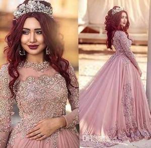 2020 musulmane élégante d'une ligne de mariée Illusion Jewel cou à manches longues en dentelle Taille Plus cristal Appliques Cour train Robes de mariée formelles