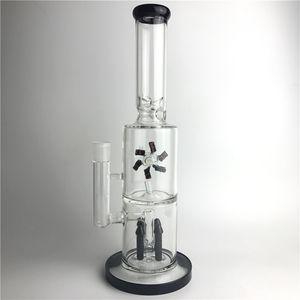 15 Zoll neue Bong Glas Wasserrohre Thick Recyler berauschende Glasbecher Bongs mit zwei Schichten Filter Rocket Reflow Fan Drehen der Windmühle