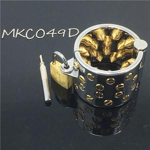 Зубы Кали шипами мяч носилки бондаж золотые кольца металлические целомудрие устройства клетки мошонки стимул кольцо фетиш БДСМ секс продукт MKC049D