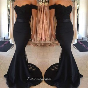 Black Colour Long Evening Dress High Quality Mermaid Lace Girls Special Occasion Party Gown Cheap Custom Made Plus Size