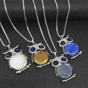 37g Lunghezza catena 76cm creativo luminoso collana gufi di cristallo luminoso collana lunga accessori per le donne gioielli hip hop con pacchetto op