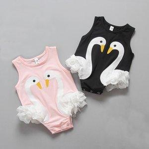 Ins bébé barboteuses Débardeurs bébé fille Vêtements d'été 2 couleurs Mignon Swan Baby Girl Onesies 17051502