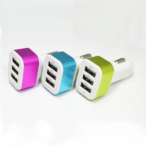 Para el teléfono móvil 6s Cargador de coche Adaptador Traver Enchufe de coche Venta caliente Triple 3 puertos USB Cargador de coche 100pcs DHL sin paquete