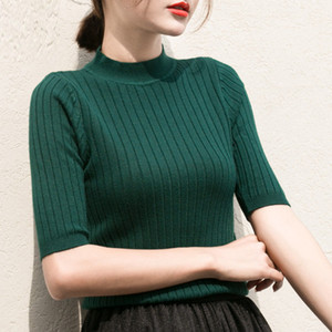 2017 New Knitted Slim Pullover Women Turtleneck Knitted Sweater Shirt Female All-match Basic Half Sleeve Tops Clothing