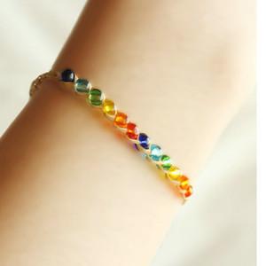 200pcs gros bracelets de charme cristal perle amour bracelets d'herbe de Rafi fait main dame souhaitent bracelets de corde d'herbe