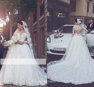 New Arabic Lace Appliques Wedding Dress A Line Illusion Back Long Sleeves Women Wear Bridal Gown Custom Made Plus Size Vestido De noiva