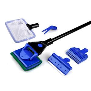 Tanque de acuario completo juego limpio Fish Net Gravel Rake Raspador de algas tenedor esponja cepillo Glass Aquarium Cleaner Tool Kit