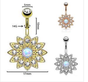Bague de nombril avec diamant et pétales de nombril en or rose