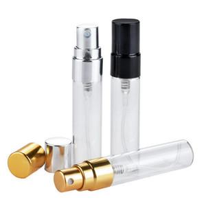 200pcs 5ml 휴대용 리필 Perfume 병 투명 유리 에센셜 오일 여행 스프레이 병 빈 향수 병 무료 배송