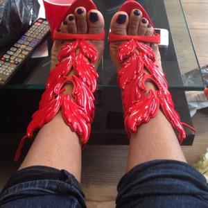 Самые продаваемые модные Леди Крылья Ангела черный желтый высокие каблуки сандалии Гладиатор Рим женщины лист кожа платье туфли-лодочки Обувь