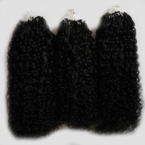Mongolian kinky curly hair micro extensão do cabelo 300g Natural Cor extensões de cabelo humano micro loop 1g