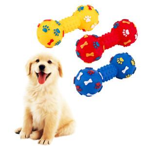 Tamanho médio PVC Brinquedos Do Cão Dumbbell Colorido Em Forma de Brinquedos Do Cão Espremer Squeaky Faux Osso Pet Mastigar Brinquedos Para Cães
