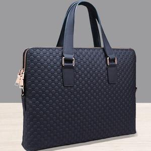 Venta al por mayor- 2017 Genuine Leather Solid Men Briefcase Men Messenger Bags New Leather Bag Men Head Business Bag Doble cremallera Hombro