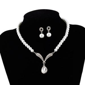 Perlas de imitación Conjuntos de Joyas Nupciales Regalo de Boda de La Manera Clásico de Gota de Agua Collar de Cristal Collar de Gargantilla Aretes para Las Mujeres Al Por Mayor