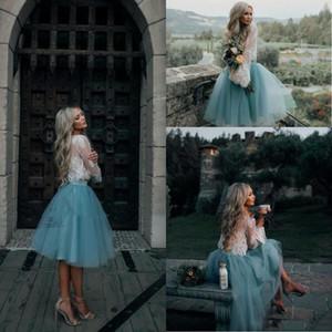 2017 dentelle blanche et menthe deux morceaux manches longues courtes robes de bal d'illusion boho guiche de fête graduation robe de soirée tendance bon marché
