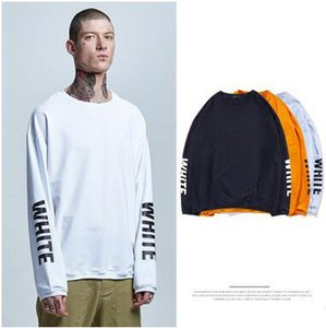 Crew Collar Long Sleeve Letter Printing Sweatshirts Brand Men's Clothing Casual Loose Solid Pullover Hoodies Sleeve Printed Hoody