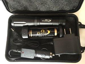 Torcia di torcia XML K20 Flashlight 3800LM Caricabatterie tattico a LED EKAIOOOU T6 con torcia Lampada Zoomable Boxs BATTERIA Torce regalo 18650 Set Njoru