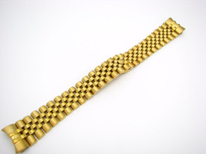 20mm 316L Stainless Steel Jubilee Silver TwoTone Gold Wrist Watch Band Strap Bracelet Solid Screw Links Curved End