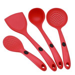 4 шт./компл. красный черный силиконовые кухонные принадлежности костюм не липкий горшок термостойкие лопатой ложка посуда на складе WX-C79