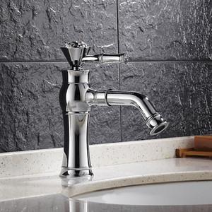 Commercio all'ingrosso- Design antico di cristallo maniglia in ottone cromato rubinetto del bacino lavabo sopra contatore lavaggio acqua calda e fredda miscelatore rubinetto del bacino