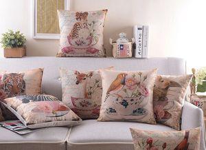 Estilo europeo Vintage Floral Flower Teacup Animales Fundas Cojines Zebra Tiger Jirafa Conejo Bird Linen Cotton Cushion Funda de almohada