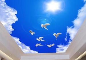 3d комната пейзаж потолок обои на заказ фото настенная роспись 3d потолок голубиное небо солнечные голуби фрески обои гостиная 3d потолок