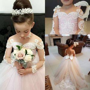 Hellrosa Ballkleid Blumenmädchenkleider mit langen Ärmeln Schöne schiere Jewel Neck Birthday Party Kleider für kleine Mädchen mit Applikationen Bogen 20