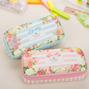 Pencil Case Korean Waterproof Large Capacity Romantic Floral Garden Double Layers Pencil Case Pen Holder Pouch Stationery School Supplies