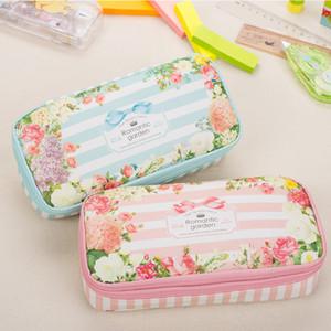 Pencil Case Korean Waterproof Large Capacity Romantic Floral Garden Double Layers Pencil Case Pen Holder Pouch Stationery School Supplies