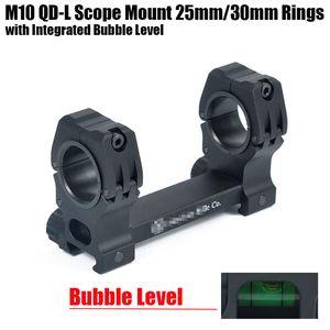 Tático M10 QD-L Rifle Scope Mount 25mm-30mm de Diâmetro Anéis com Nível de Bolha Integrado Fit Weaver Picatinny Trilho Preto