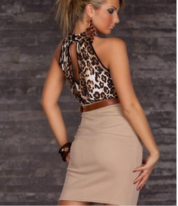 Sexy Femmes Clubwear Robes Halter Neck Leopard Robe Casual avec ceinture cou Robe moulante sans bretelles