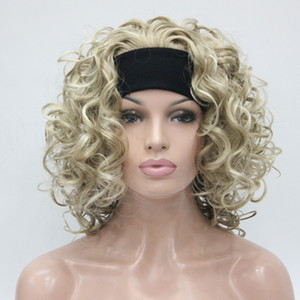 HIVISION Hot super sexy Light Blonde Mix 3/4 Perücke mit Stirnband Mittlere lockige Frauen halbe Perücke
