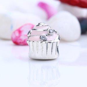 New Real 925 Sterling Silver Não Banhado Bolo De Aniversário Pave CZ Encantos Encantos Europeus Beads Fit Pandora Pulseira DIY Jóias