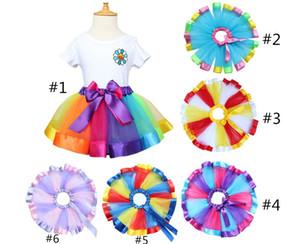 Crianças arco-íris tutu vestidos crianças recém-nascidos lace princesa saia pettiskirt ruffle ballet dancewear saia holloween clothing klx 003