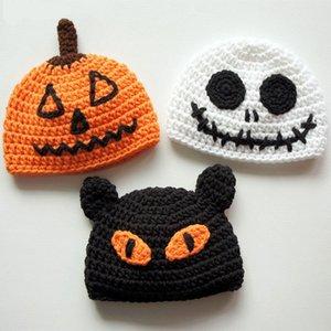 Ручной работы вязаные крючком детские Хэллоуин шляпы, тыква Джек Фонарь, страшно черный кот, скелет призрак шляпа, мальчик девочка фото опора