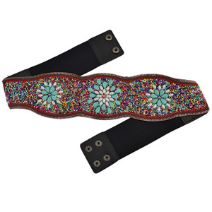 Bohemian Belt Belly Cadeia embutimento imitação turquesa Resina contas elástico ajustável barriga da cintura cadeia de jóias corpo