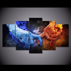 5 Pcs Set Framed HD Printed Love Hand Flame Picture Wall Art Canvas Print Decor Poster Canvas Modern Oil Painting