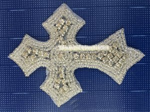 10 pcs  lot Wholesale 10pieces Sew on Cross Pearl Applique Parches Iron on Patches