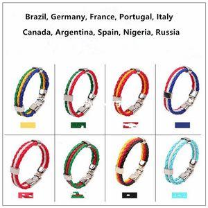 Italien-Deutschland-Brasilien-Flaggen-Seil-Brandungs-Leder-Armband-Manschette Großhandelsdropship-Art und Weise Mens-Frauen-Freundschafts-Schmuck